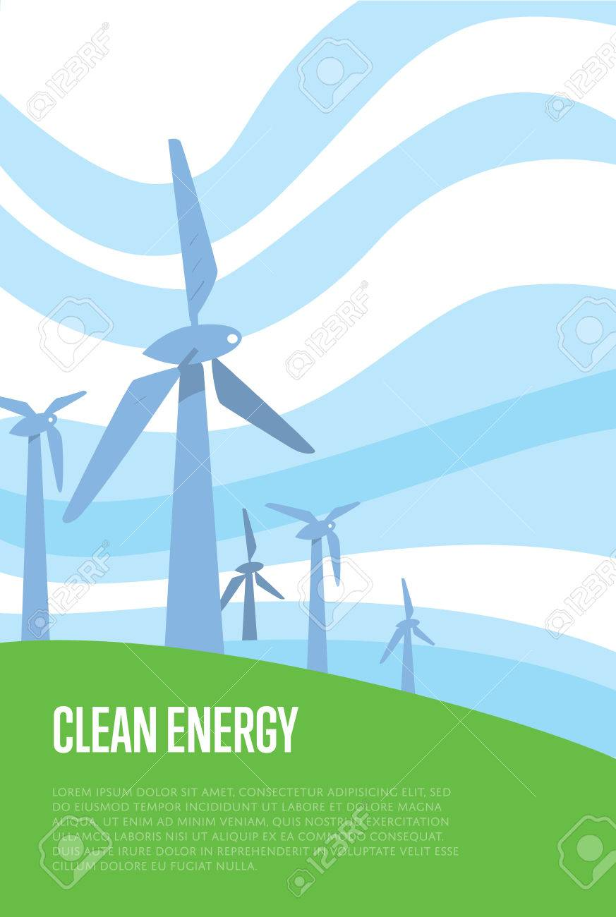 Clean energy vector illustration  Wind turbines in green field
