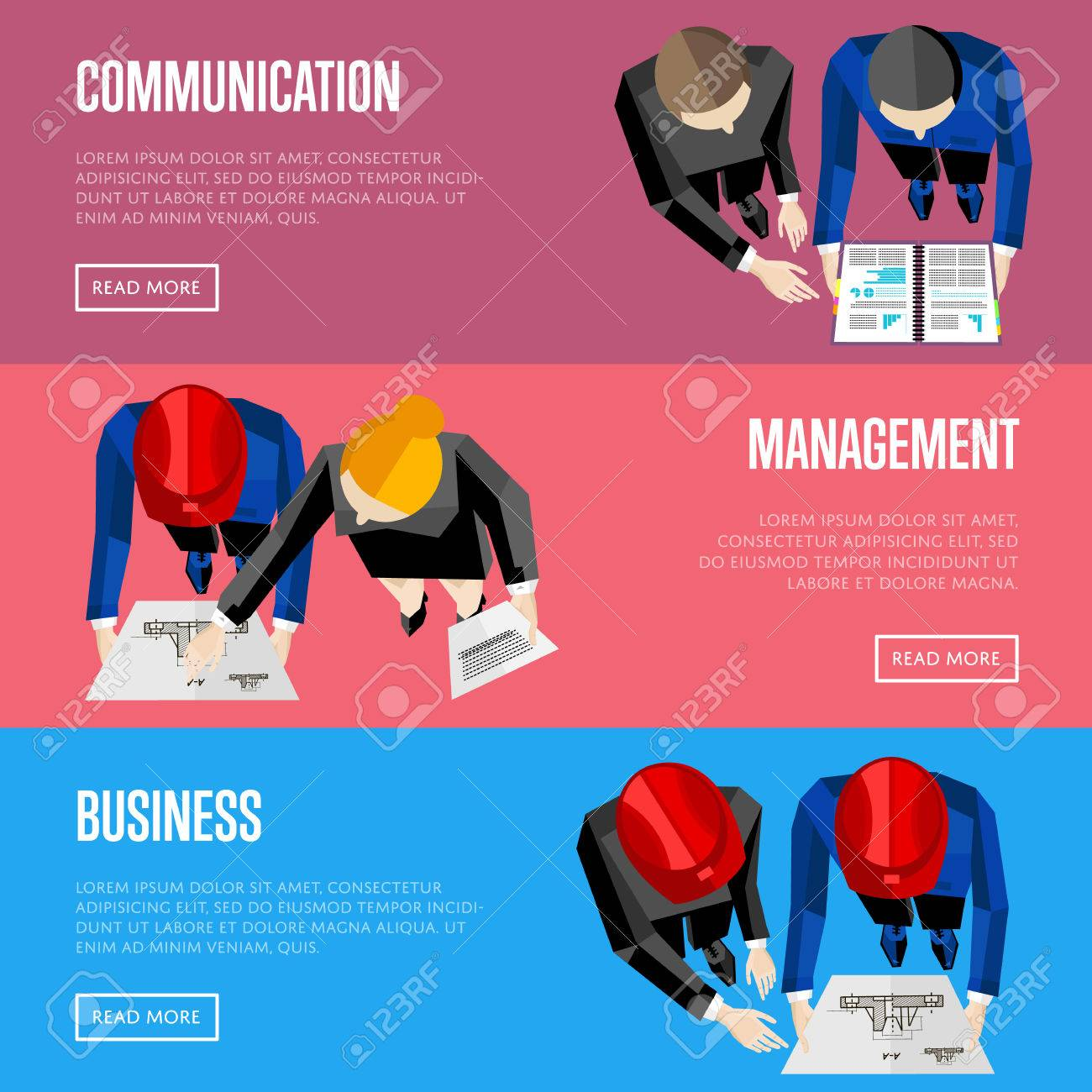 Business Website Templates, Vector Illustration. Top View Of ...