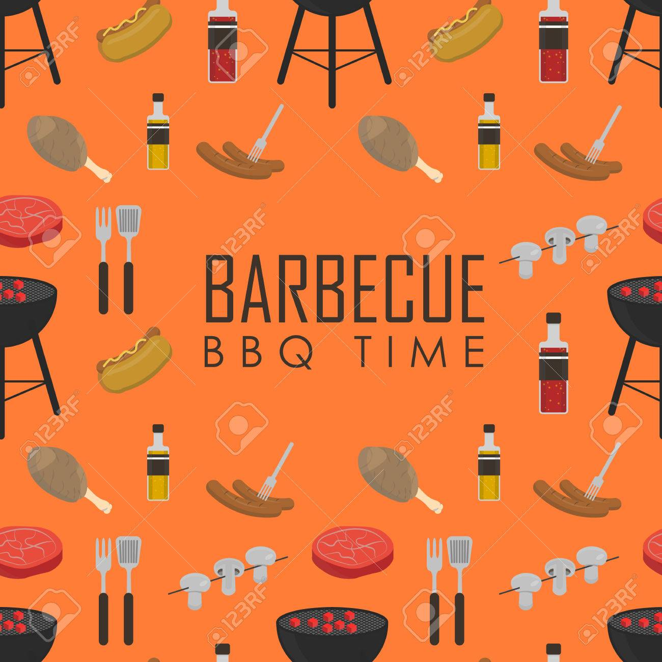 Bbq time vector illustrations barbecue seamless pattern with grill bbq time vector illustrations barbecue seamless pattern with grill and food design elements around text stopboris Choice Image