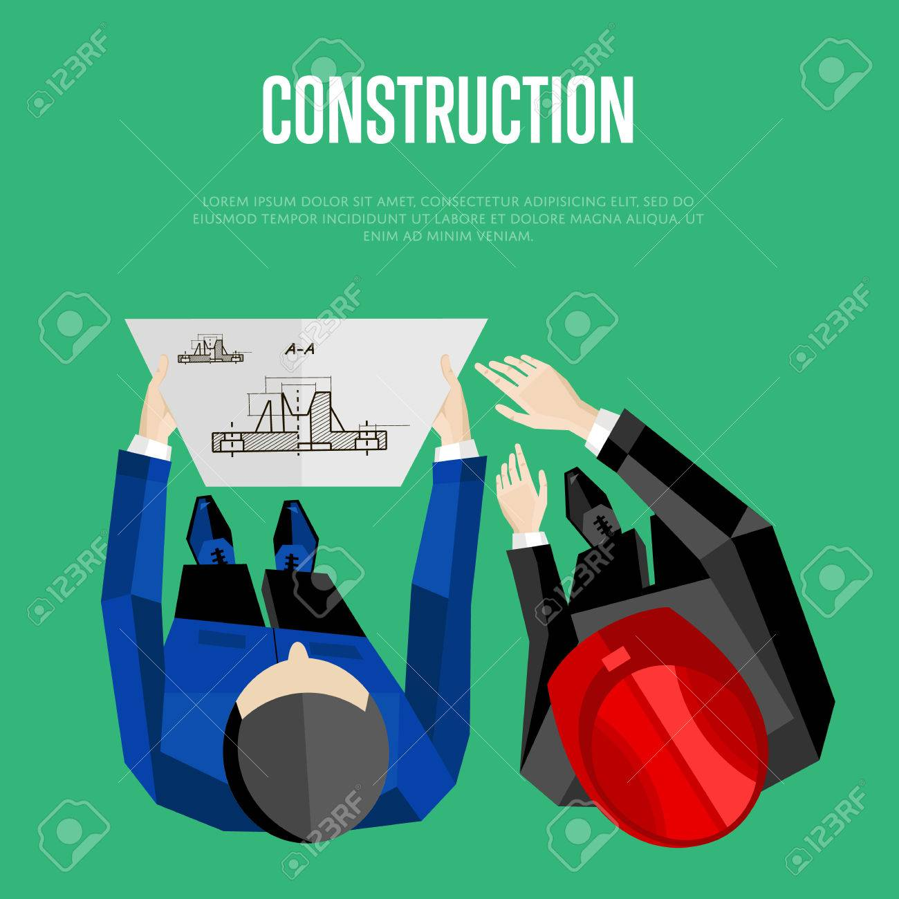 Construction banner vector illustration top view of construction construction banner vector illustration top view of construction professionals discussing details of project with malvernweather Images