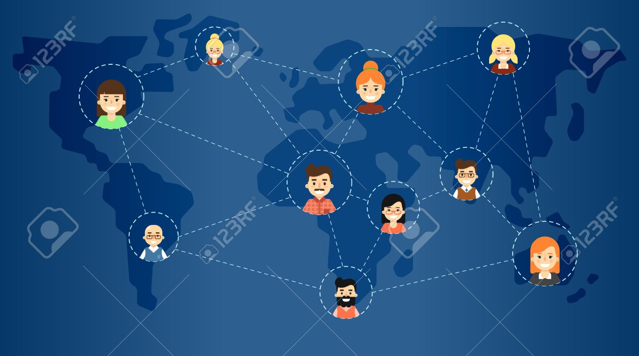 Social media network banner with connected round people icons social media network banner with connected round people icons on blue background with world map gumiabroncs Image collections