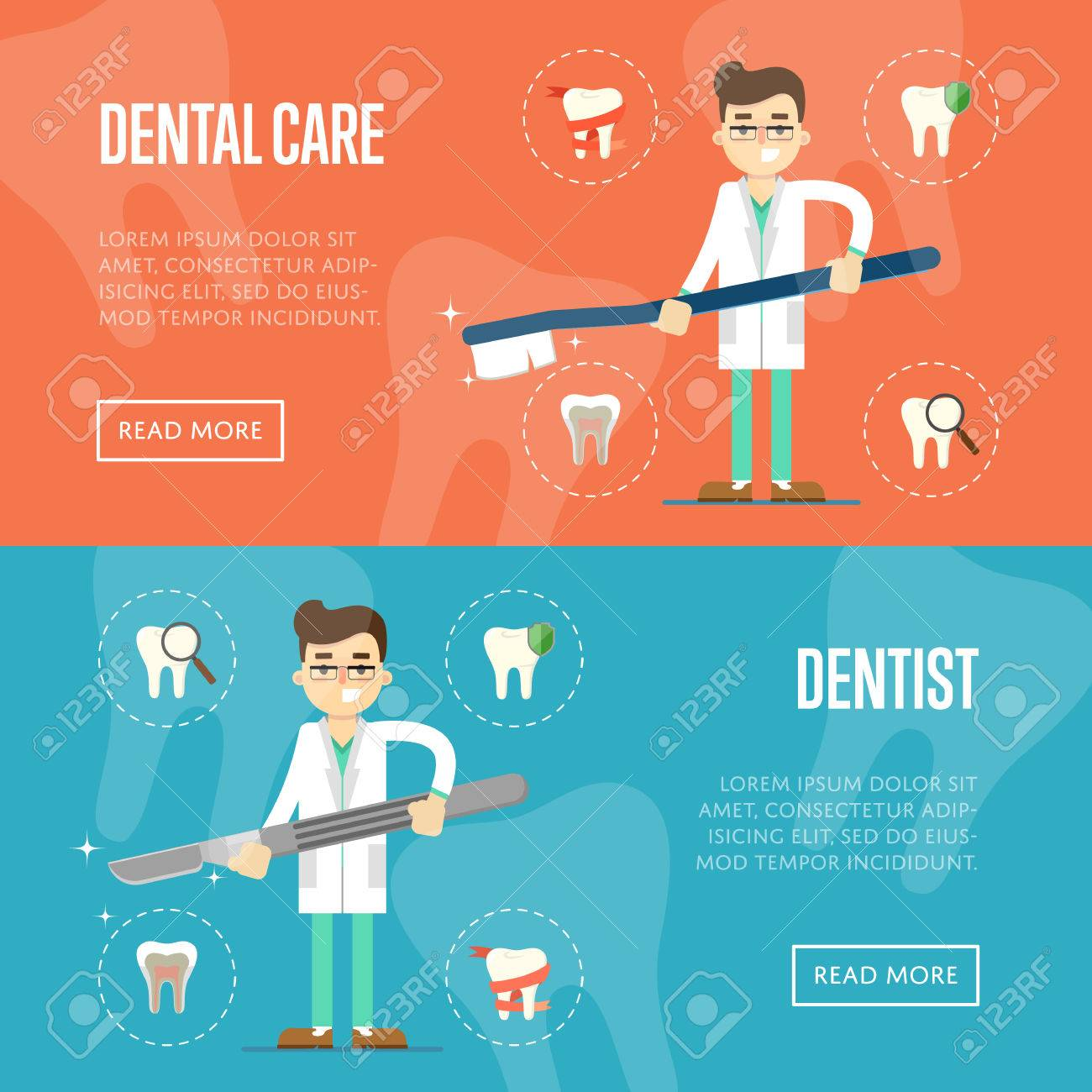 Dental Website Templates With Male Cartoon Dentist Holding Big