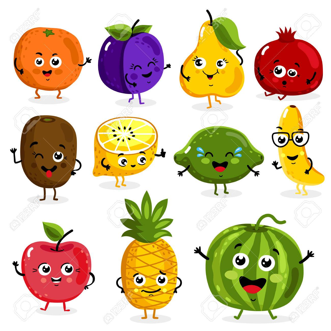 Cartoon Funny Fruits Characters Isolated On White Background ...