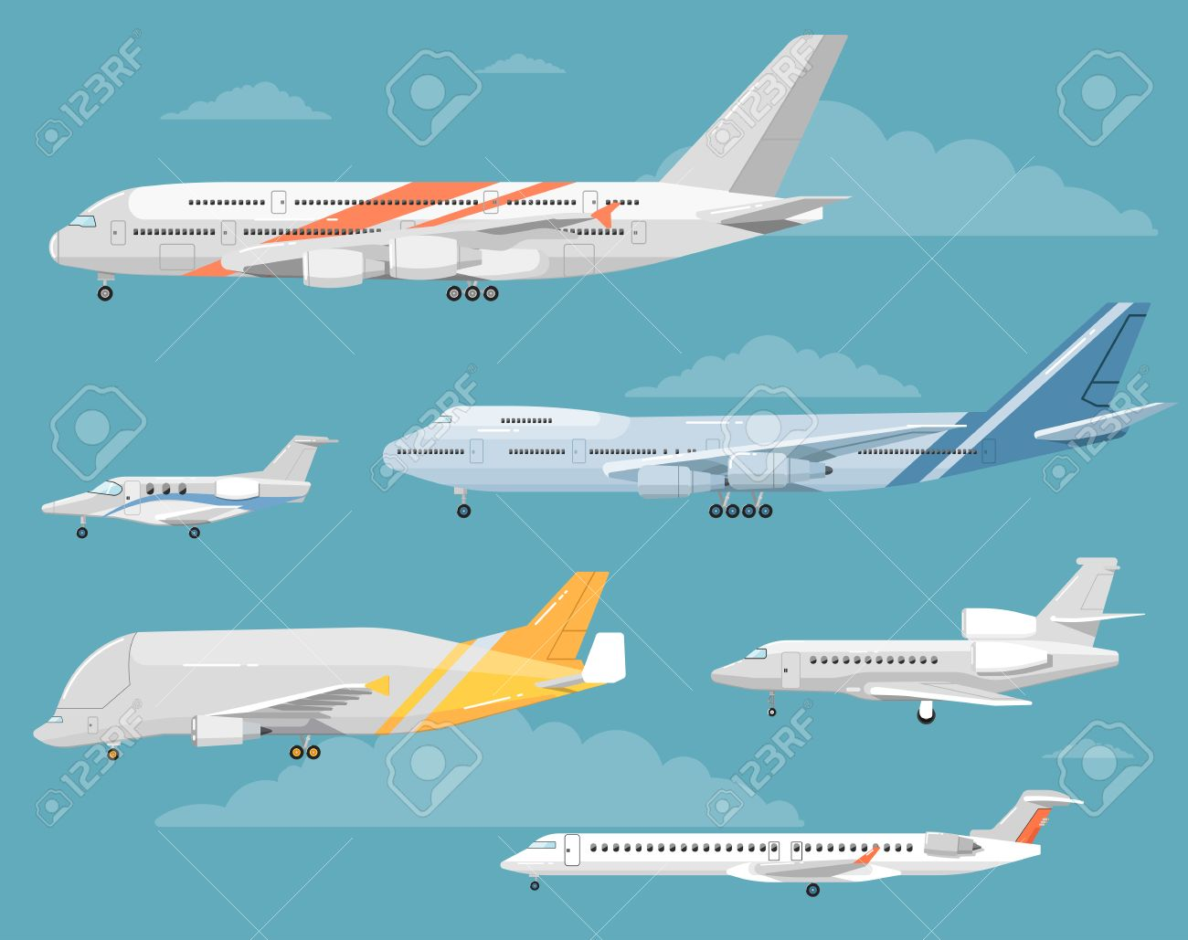 Modern Types Of Aircraft. Airliners, Personal Jets, Cargo Plane ...