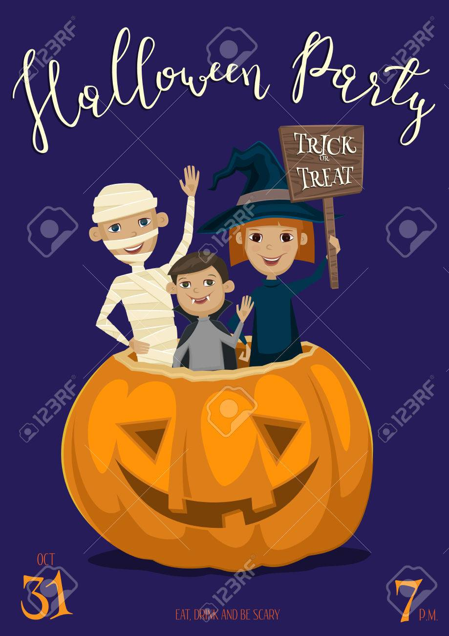 halloween party banner with funny kids in carnival costumes mummy