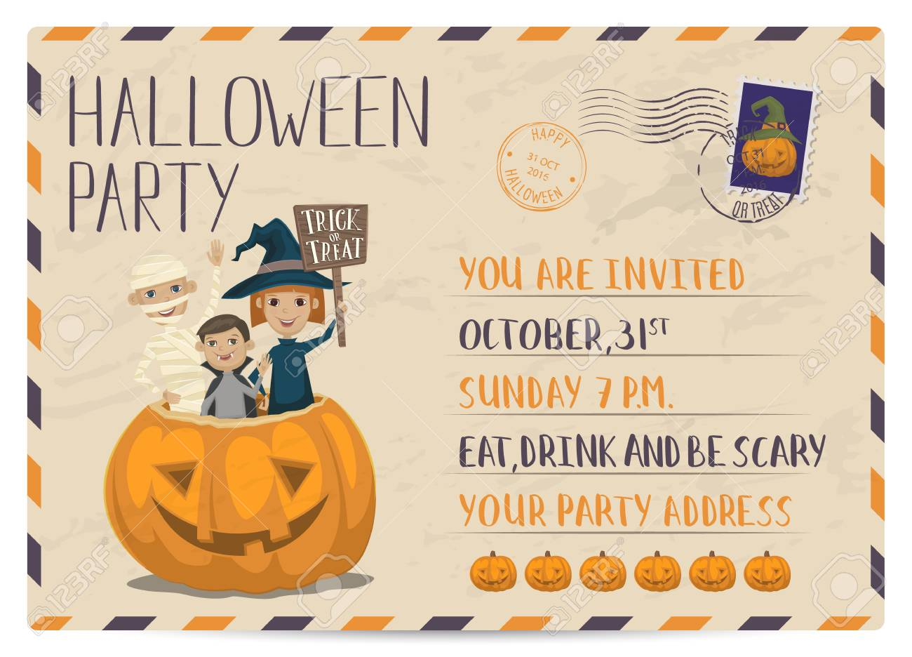 Halloween Party Vintage Postcard Invitation With Funny Kids In ...