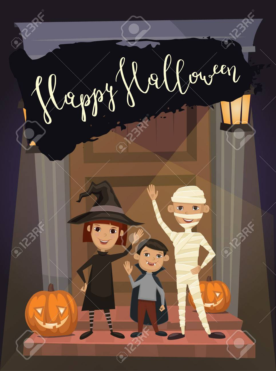 Happy Halloween Night Party Banner With Funny Kids In Carnival Costumes  Mummy, Vampire And Witch