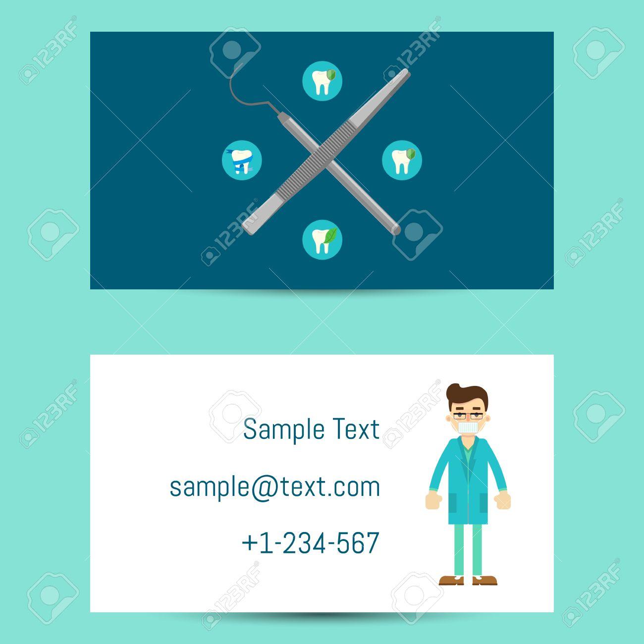 Modle Professionnel De Carte Visite Pour Les Dentistes Avec Lhomme Dessin Anim En Uniforme Mdical Et Lquipement Dentiste