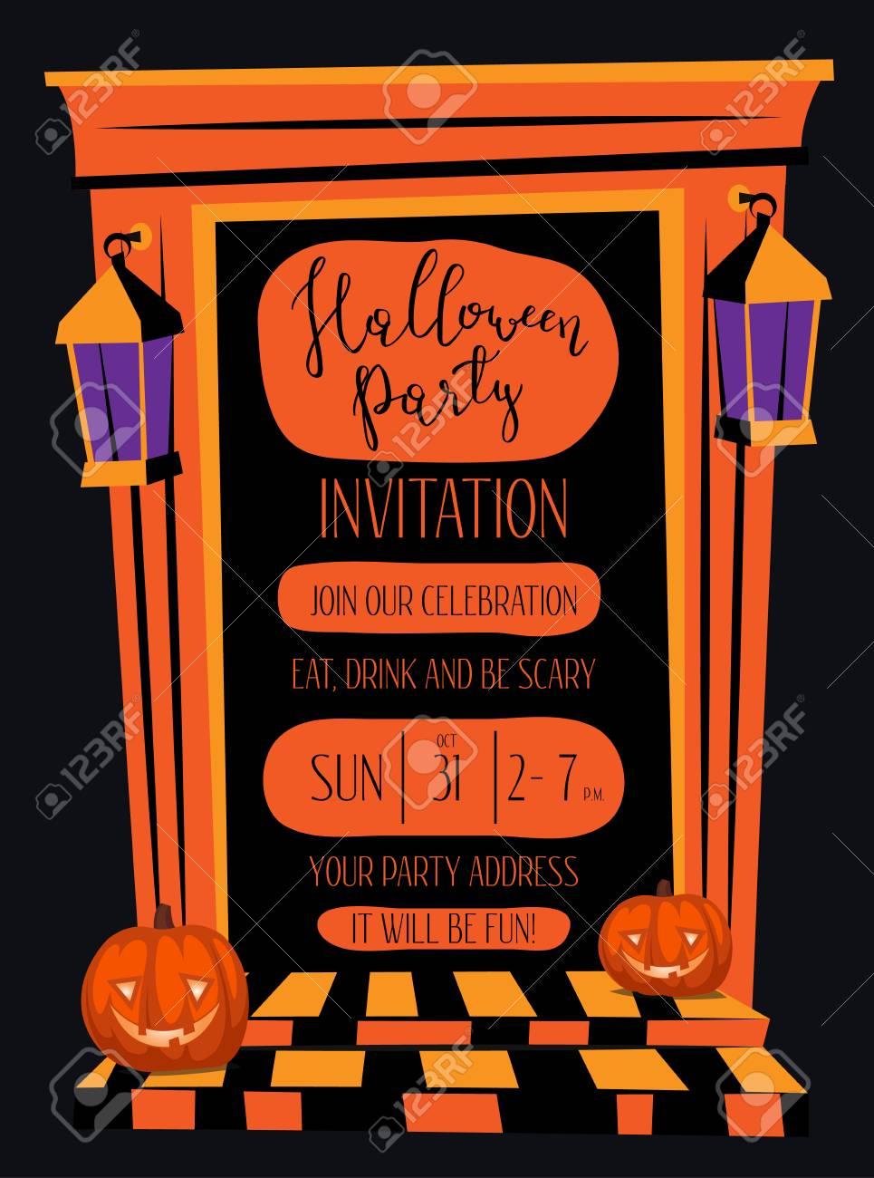 Invitation Nuit De Fête Halloween Avec Hantée Porte Maison Orange Et Lanternes Jack De Tête De Citrouille Dessin Animé Illustration Sur Fond Noir