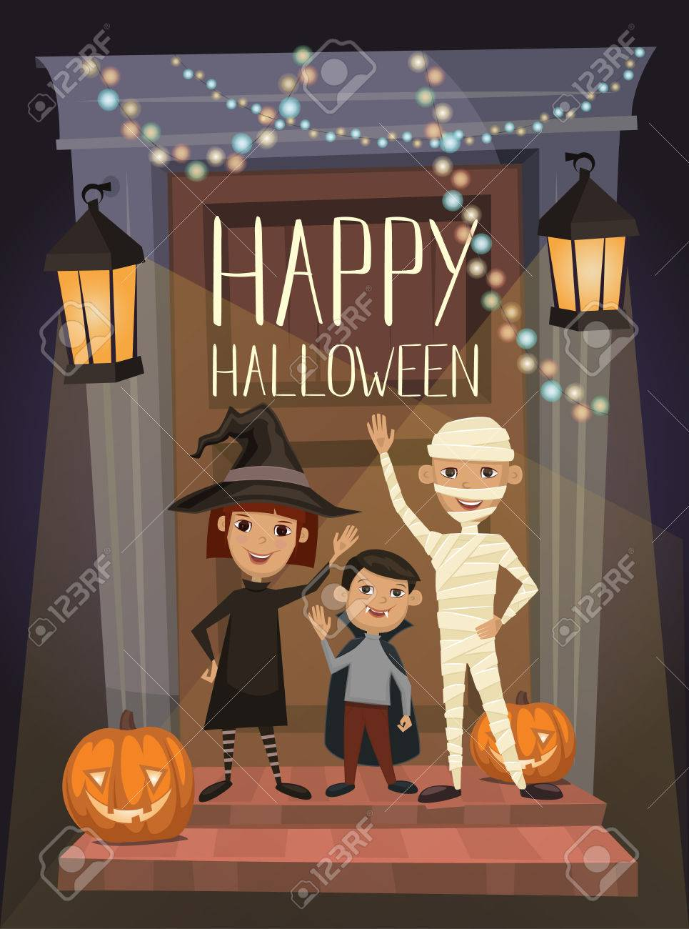 Lovely Happy Halloween Night Party Banner With Funny Kids In Carnival Costumes  Mummy, Vampire And Witch