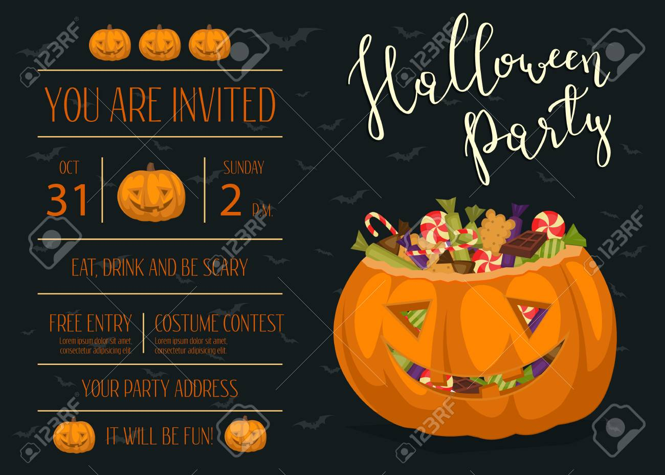 Vintage Halloween Party Invitation With Scary Pumpkin Head Jack ...