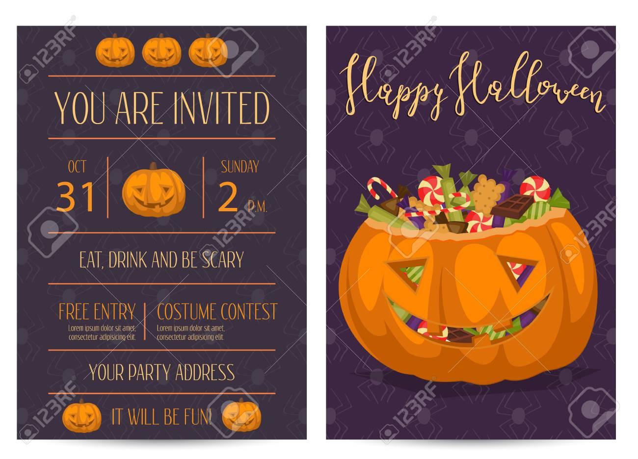Happy Halloween Party Invitations With Scary Pumpkin Head Jack ...