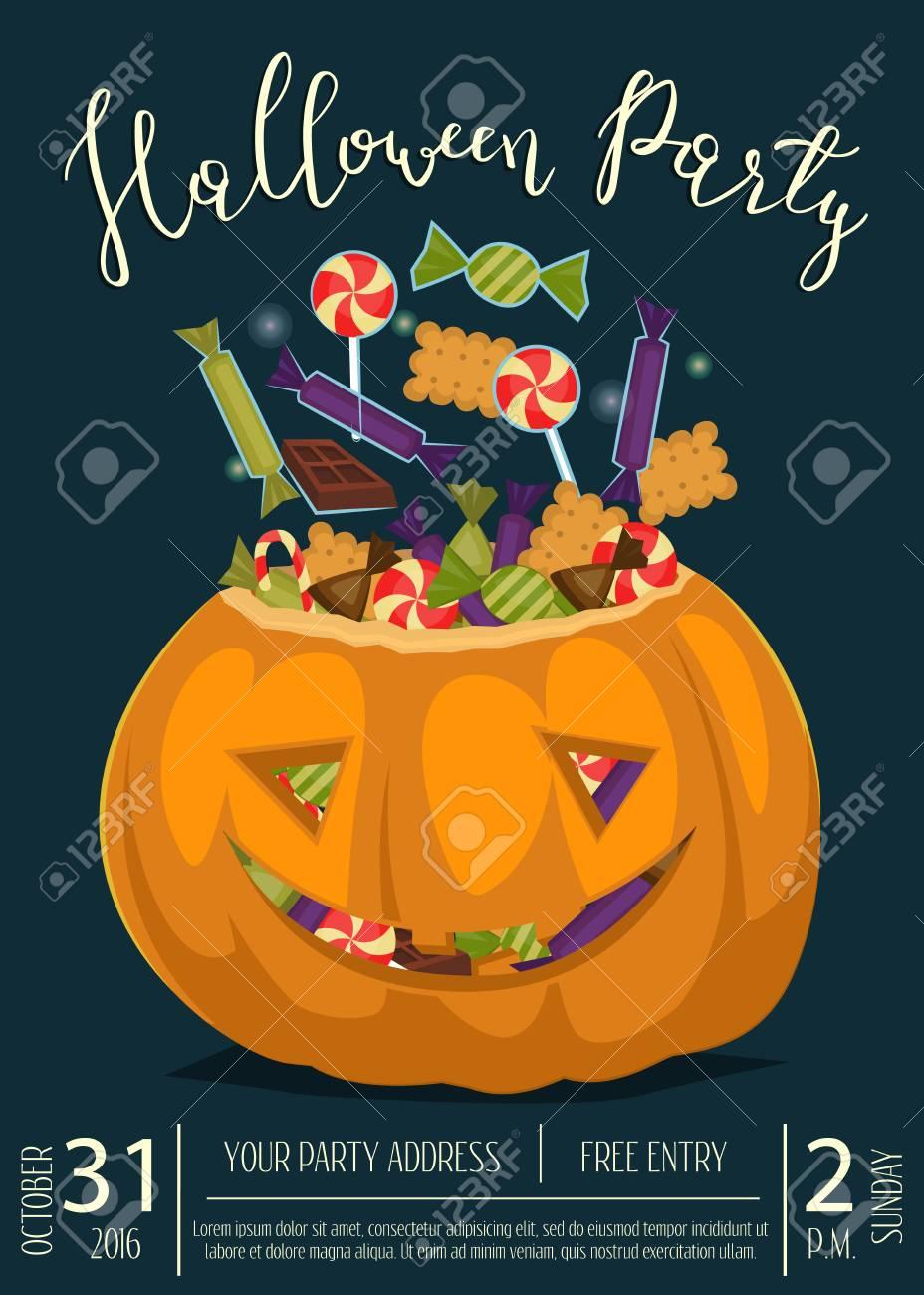 Glückliche Halloween-Parteifahne Mit Lächelnder ...