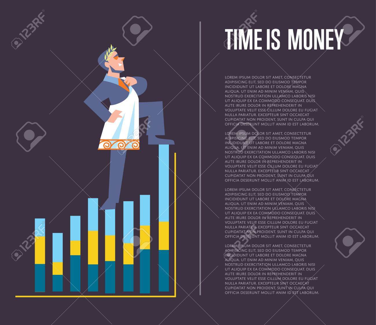 Time Is Money Banner With Businessman In Roman Toga And Laurel Wreath Standing On Graph