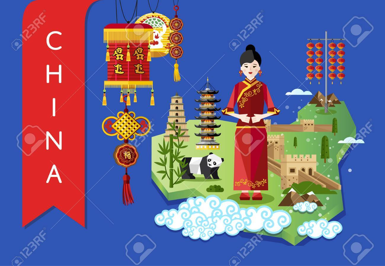 china famous traditional landmarks and travel map with asian girl on blue background vector illustration