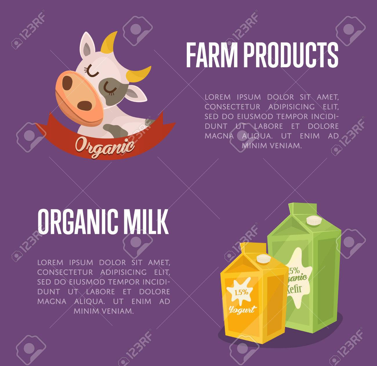 Dairy banner with cartoon cow symbol kefir and yoghurt carton dairy banner with cartoon cow symbol kefir and yoghurt carton packages isolated on perpl background buycottarizona