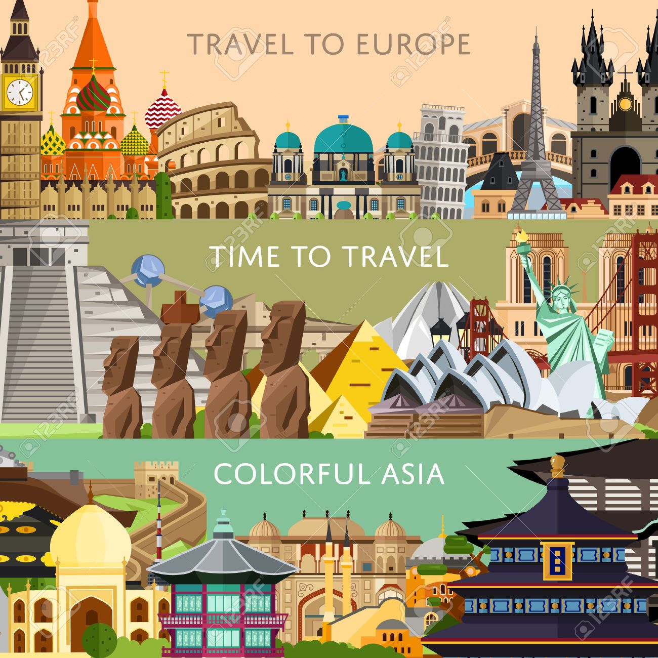Worldwide Travel Horizontal Flyers With Famous Architectural - Travel to europe