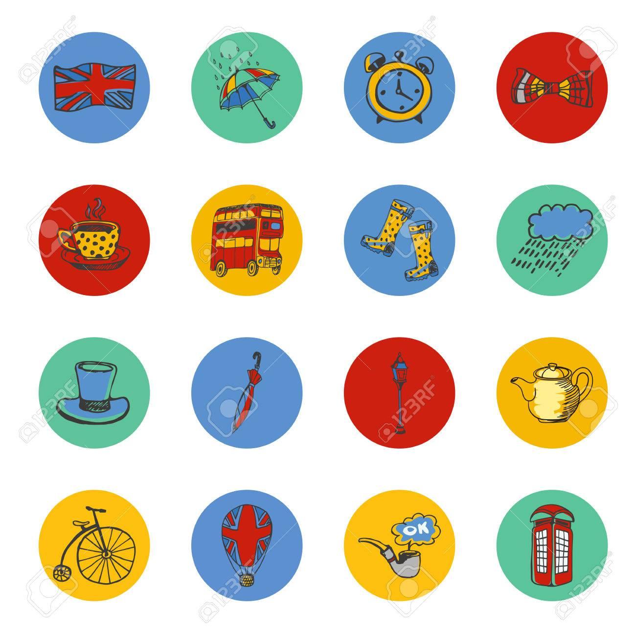 Símbolos Nacionales De Inglaterra Dibujados Iconos De Colores ...