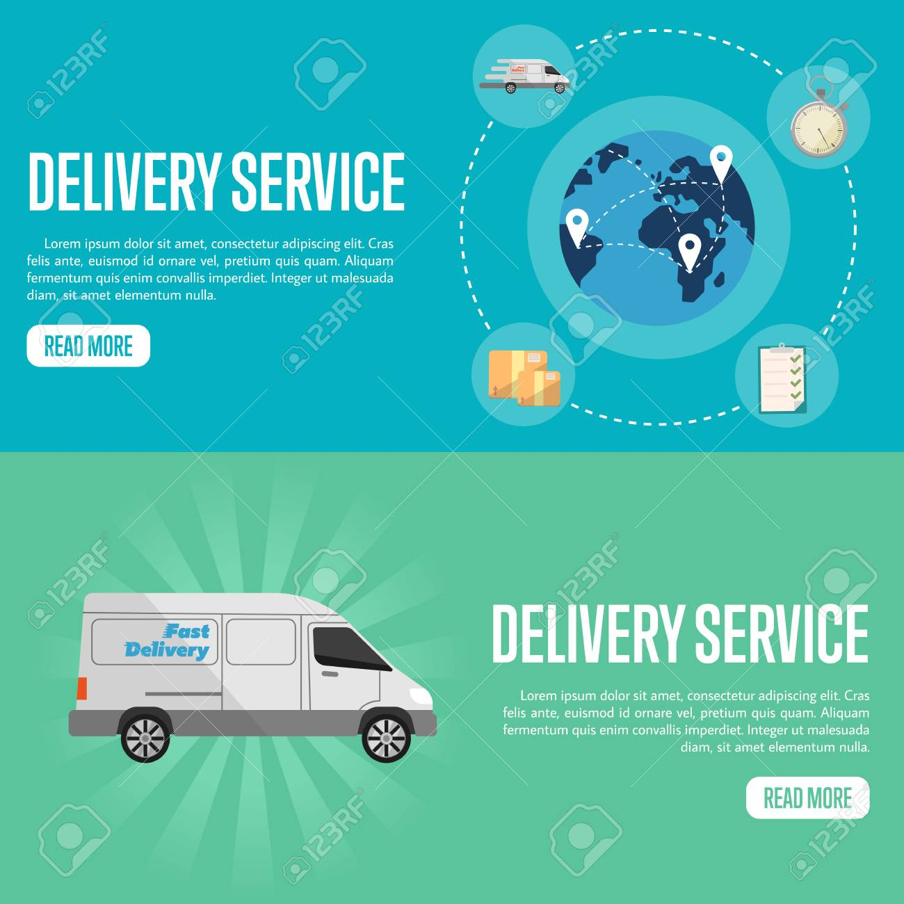 Blue globe with routes on blue background  White delivery truck