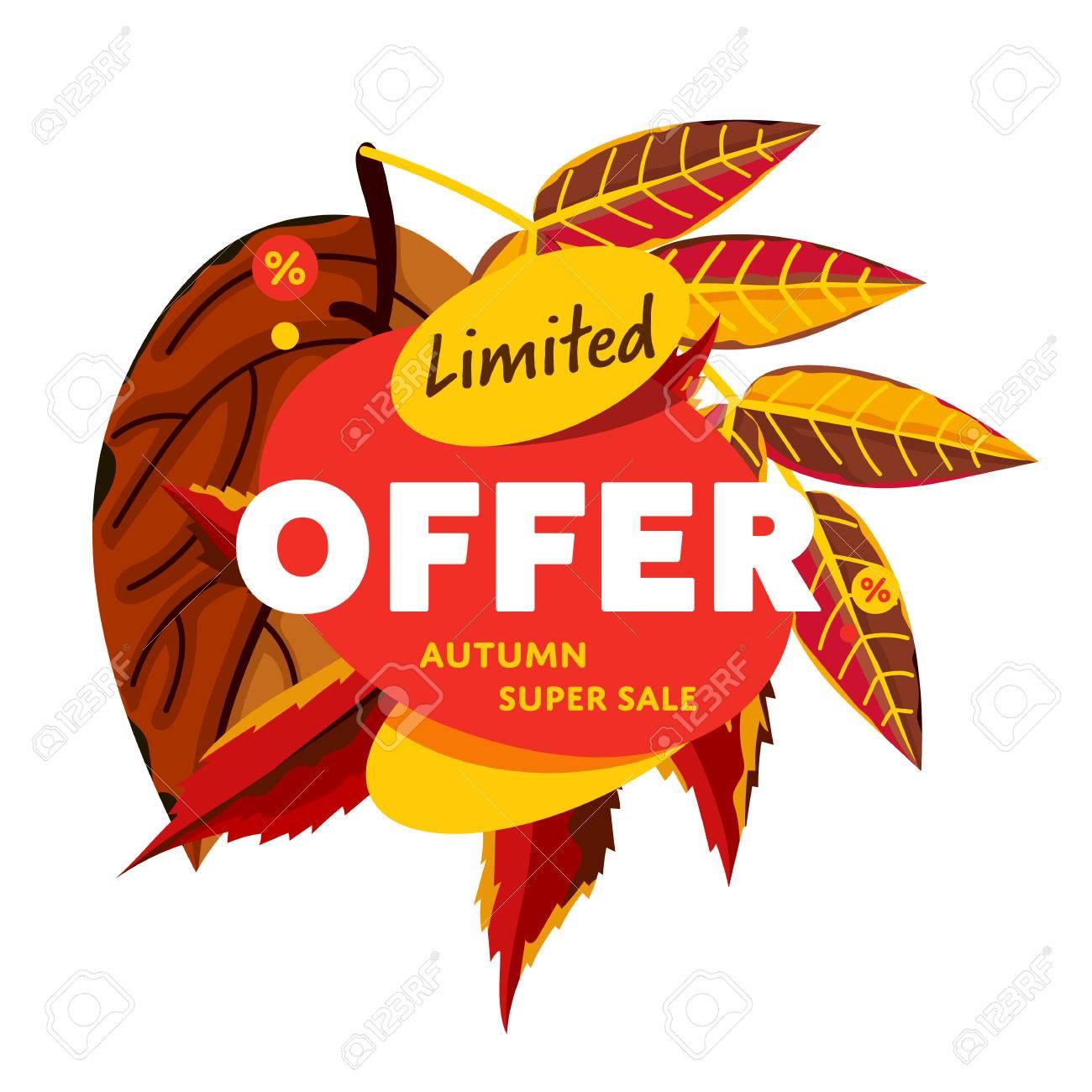 Autumn Sale Design Template, Vector Illustration. Limited Offer ...