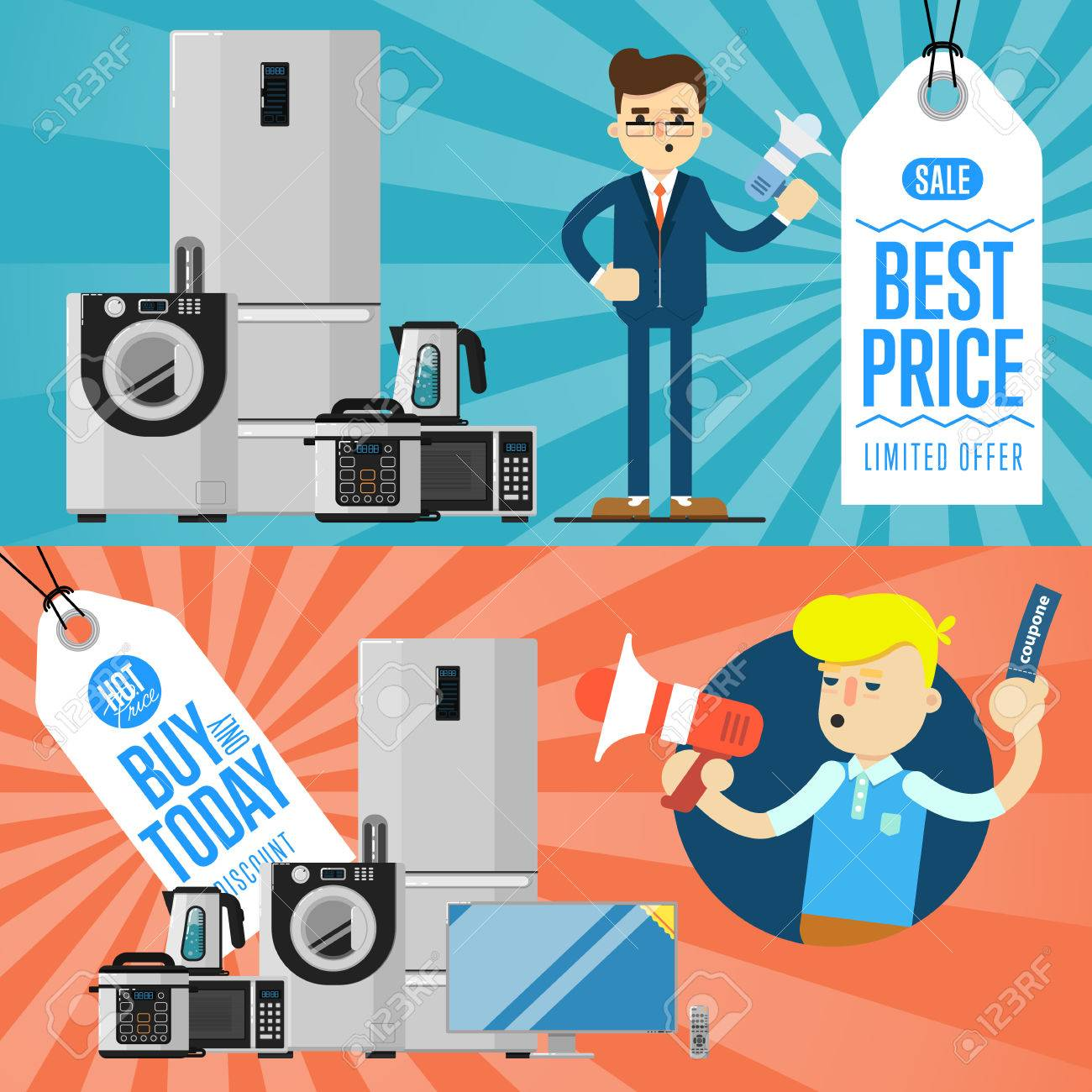 Best Prise And Buy Today Flyers With Household Appliances Vector ...