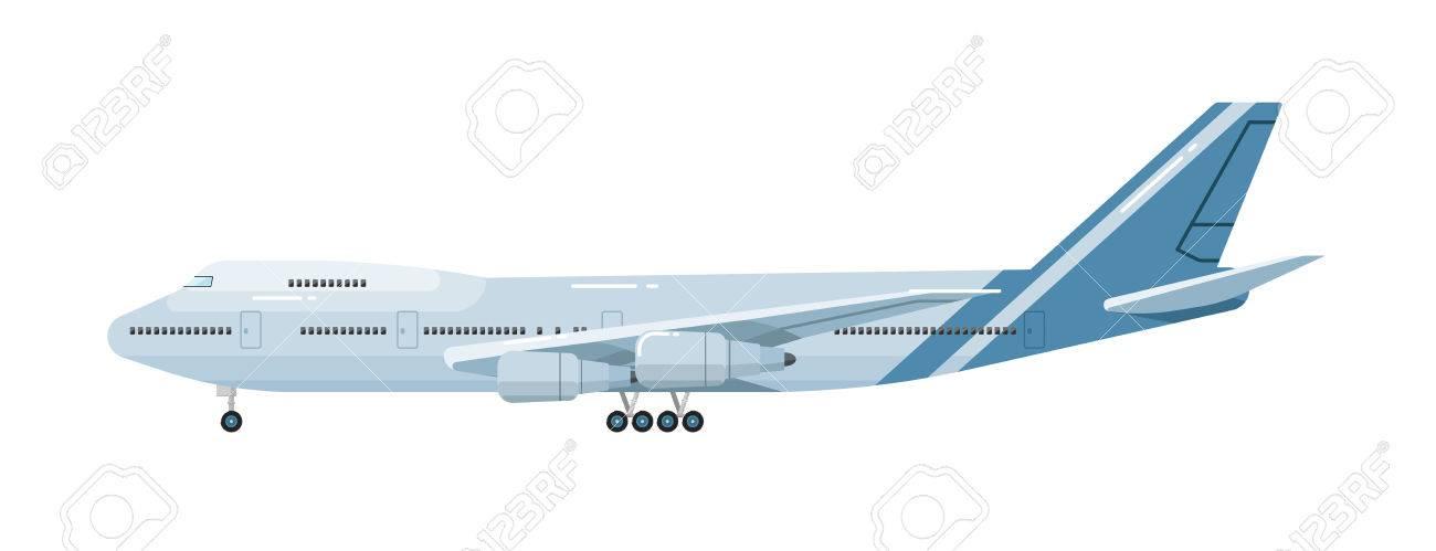 Vista Lateral Del Aeroplano Aislado En El Fondo Blanco Ilustración ...