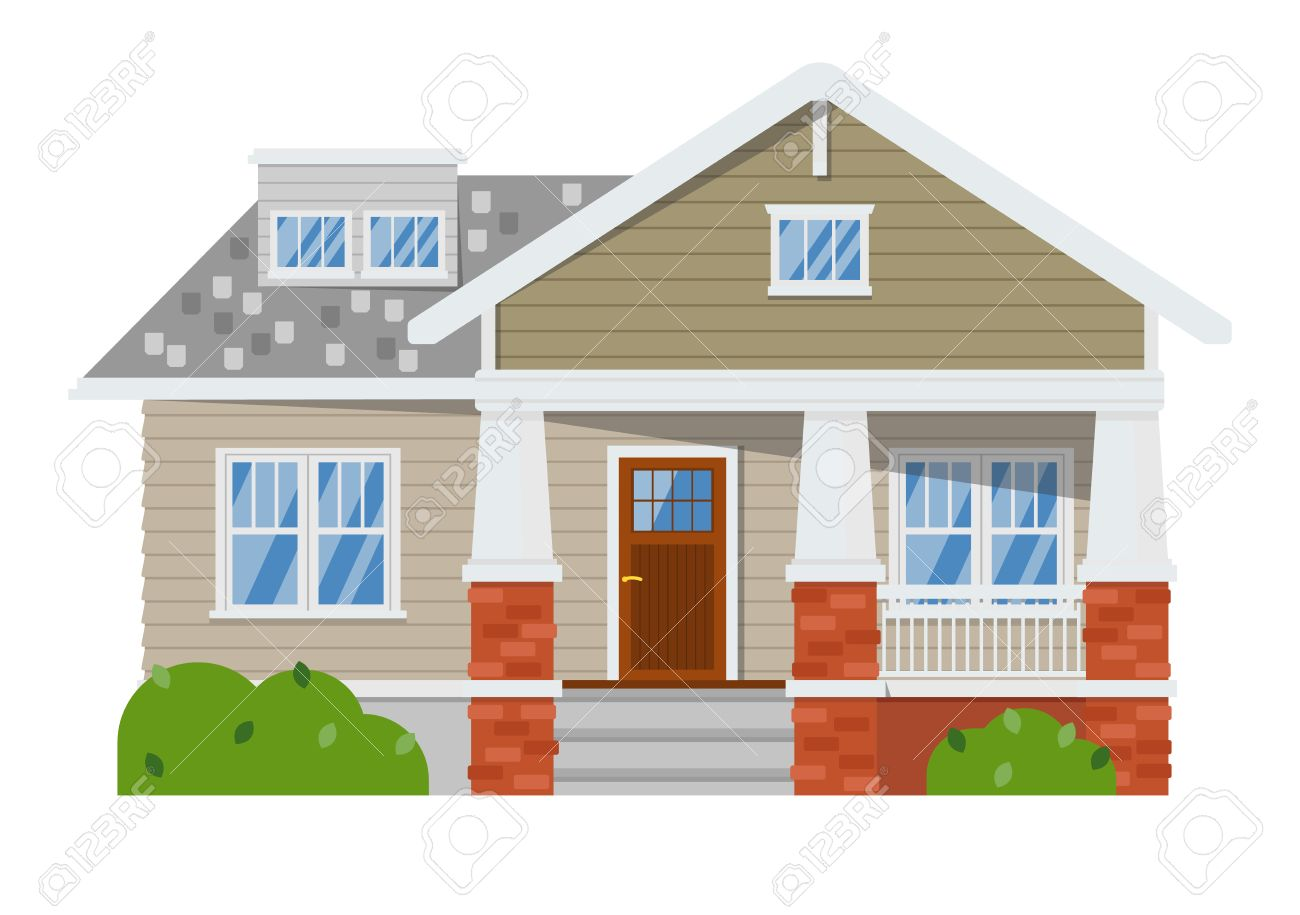 Außenansicht Der Familie Zu Hause Isoliert Auf Weißem Hintergrund ...