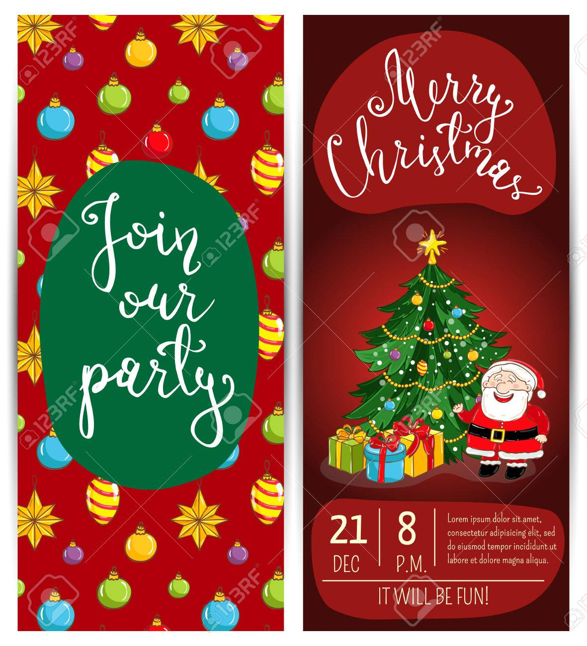 new year greetings xmas fun celebrating invitation on christmas party with date time and slogan funny santa wrapped gifts