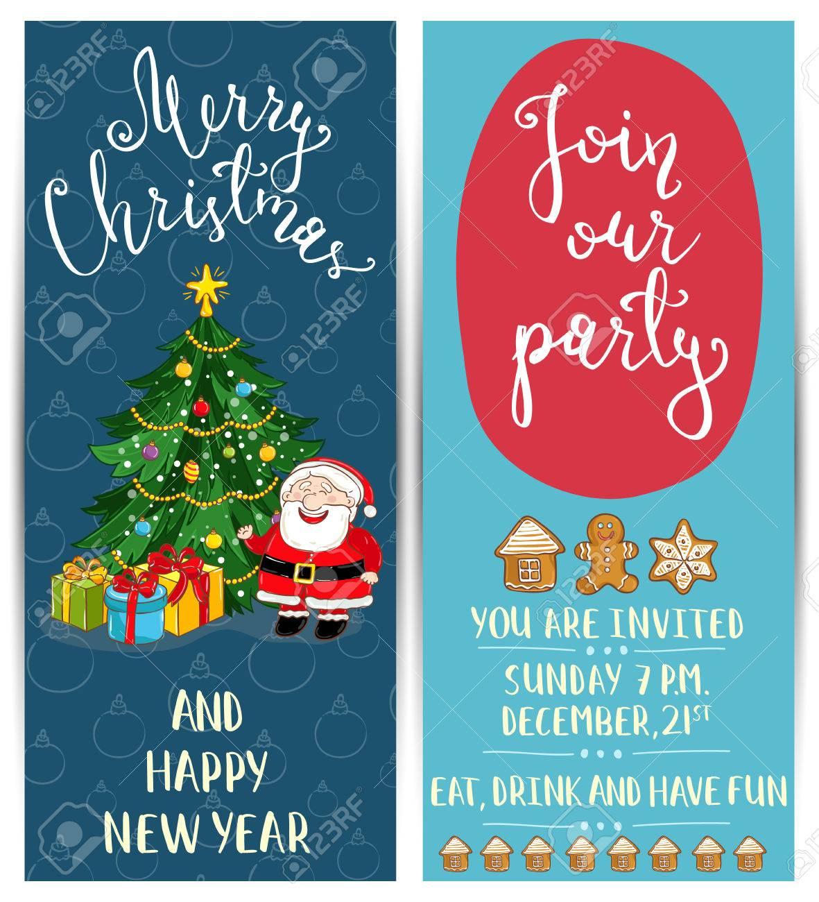 Einladung Weihnachtsfeier Mit Datum Und Uhrzeit. Fröhlich Santa ...