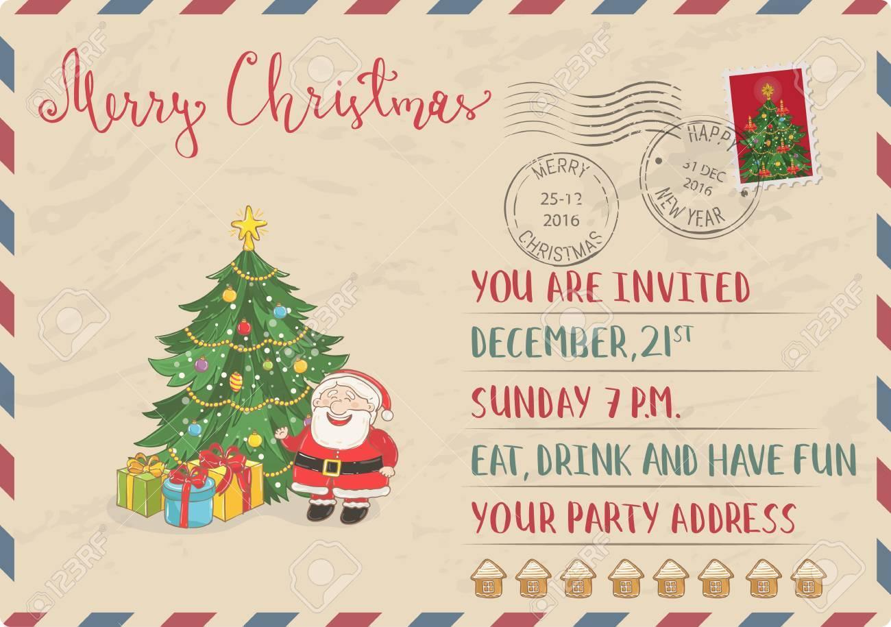 Vintage Christmas Postcard With Postal Stamps. Santa, Wrapped ...