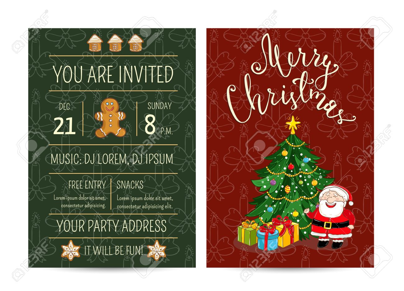 Invitation On Christmas Party With Date And Time. Cute Santa ...