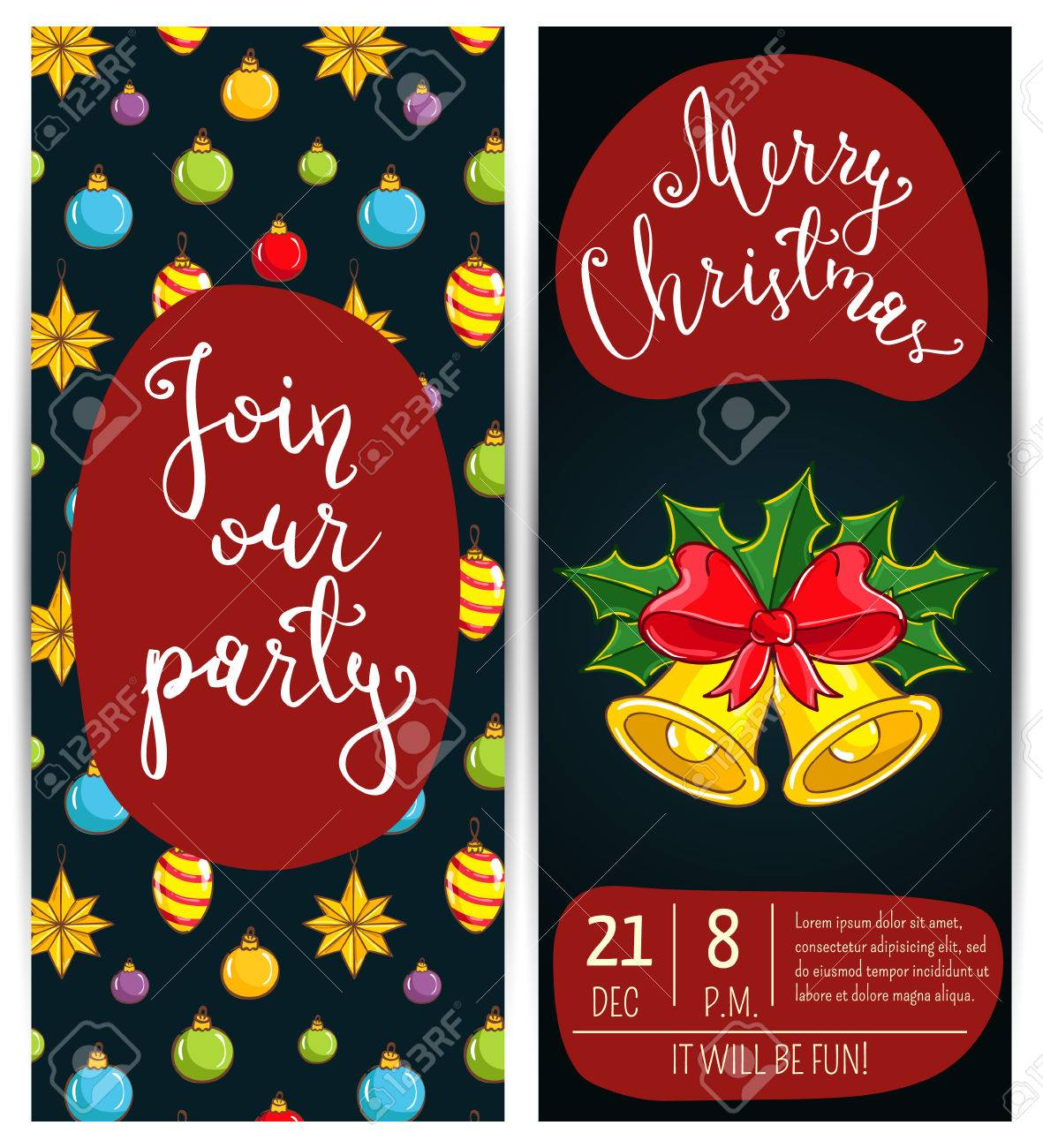 Invitation On Christmas Party With Date And Time. Christmas Bells ...