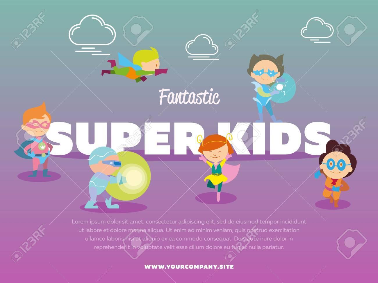 Fantastic Super Kids Banner With Children Dressed In Carnival ...