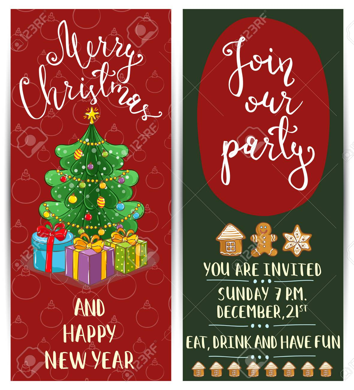 Einladung Weihnachtsfeier Mit Datum Und Uhrzeit. Verpackte Geschenke ...