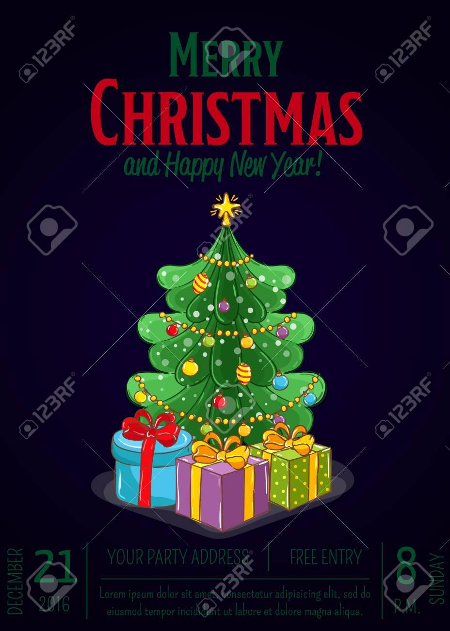 Weihnachtsfeier Promoplakat Mit Datum Und Uhrzeit. Verpackte ...