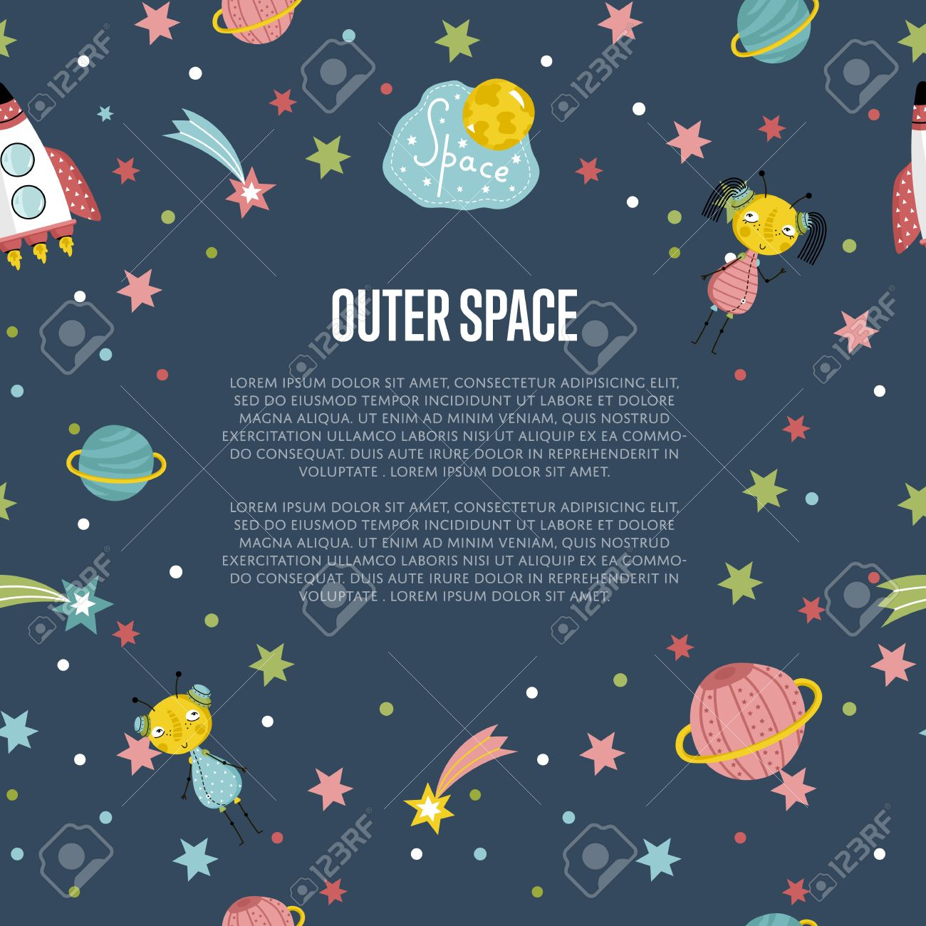 Outer space cartoon banner spaceship cute alien girl and boy outer space cartoon banner spaceship cute alien girl and boy stars comet voltagebd Image collections