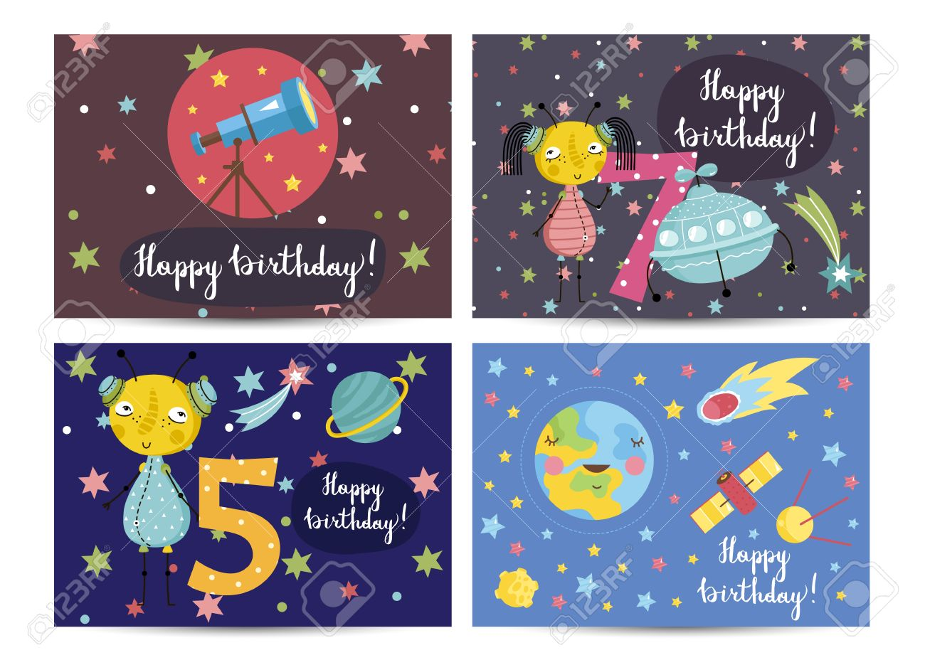 Happy Birthday Cartoon Greeting Cards On Space Theme Telescope Cute Aliens Flying Saucer