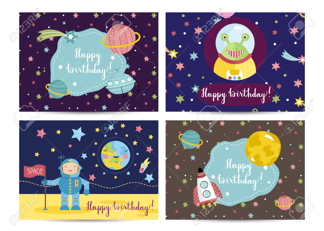 Happy Birthday Cartoon Greeting Card On Space Theme Astronaut Moon Funny Alien