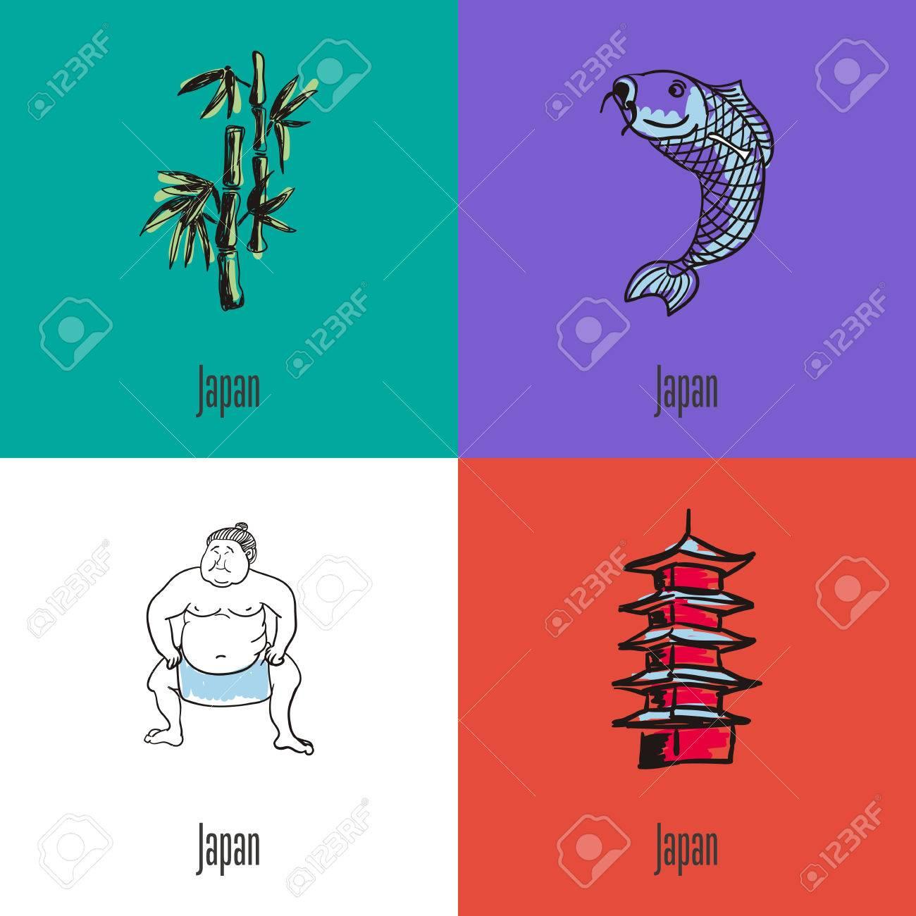 Japanese National Symbols. Bamboo Branch, Koi Fish, Sumo Wrestler ...