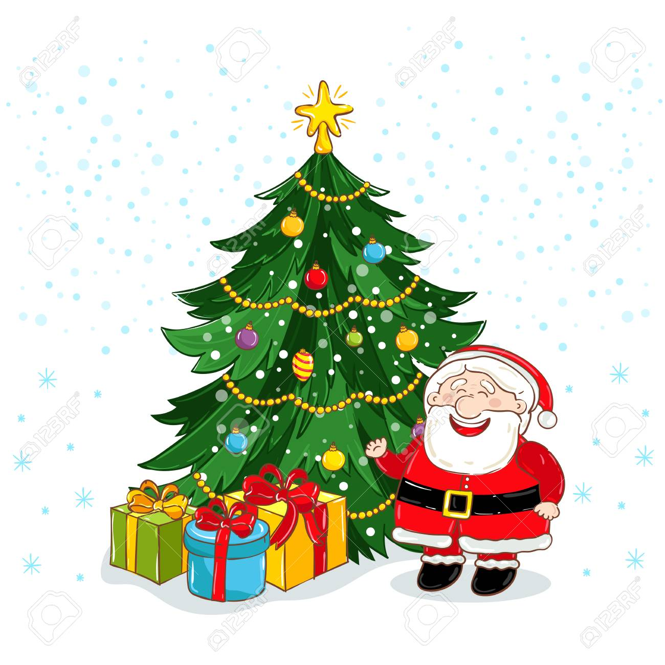 Carte De Voeux Joyeux Noël Avec Le Père Noël Et Illustration