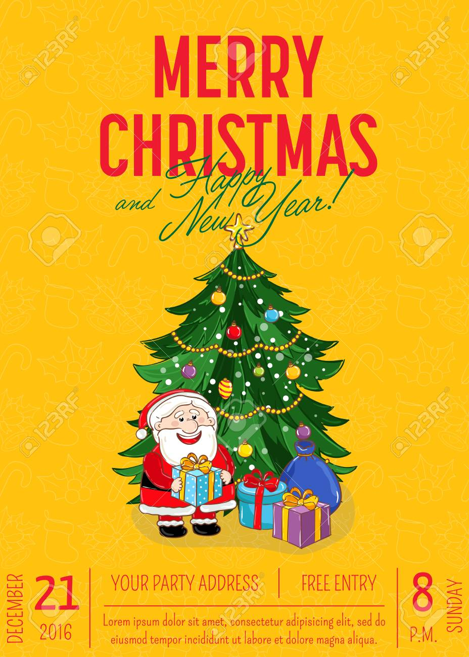 Christmas Date.Christmas Party Promo Poster With Date And Time Santa Gifts