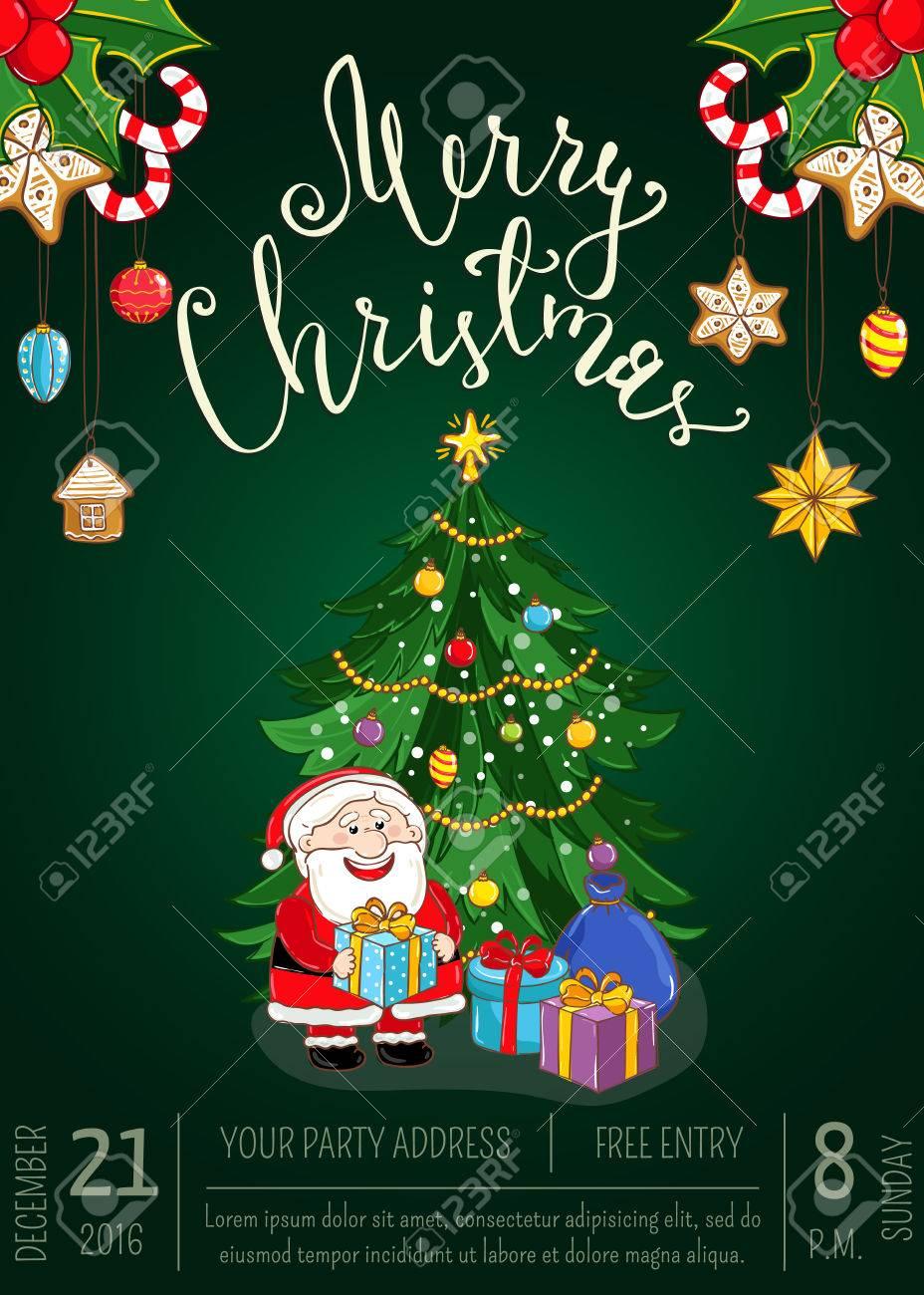 82dd1e059ef9 Affiche De Promo De La Fête De Noël Avec La Date, L heure. Père Noël,  Cadeaux, Arbre De Noël Décoré, Biscuits Au Gingembre, Houx, Vecteur De  Bande Dessinée ...