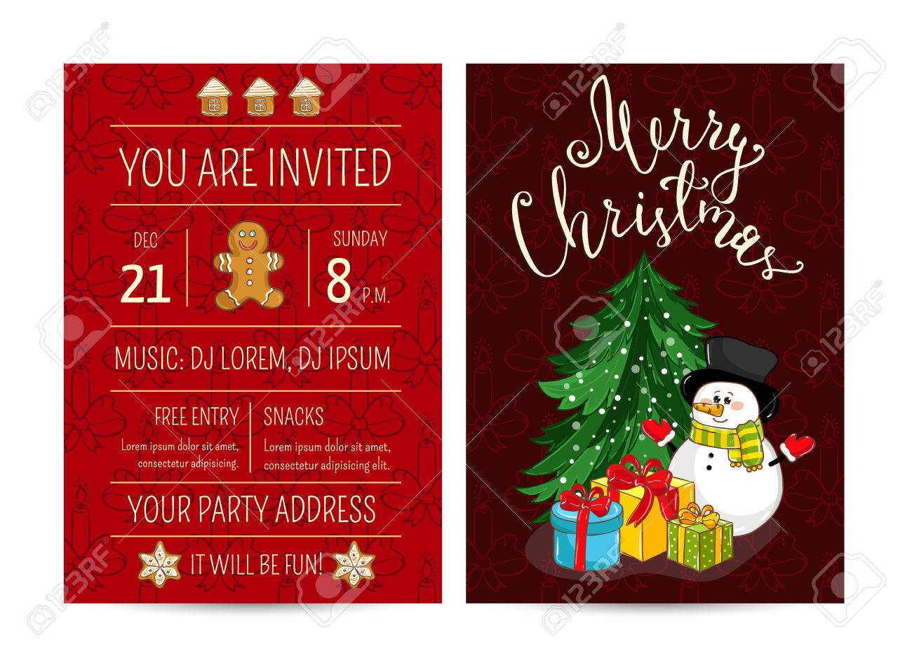 Invitation on christmas party with date and time cute snowman invitation on christmas party with date and time cute snowman wrapped gifts christmas m4hsunfo