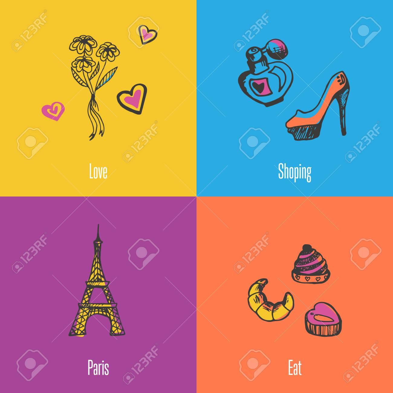 Símbolos Nacionales De Francia. Ramo De Flores, Zapatos Y Perfumes ...