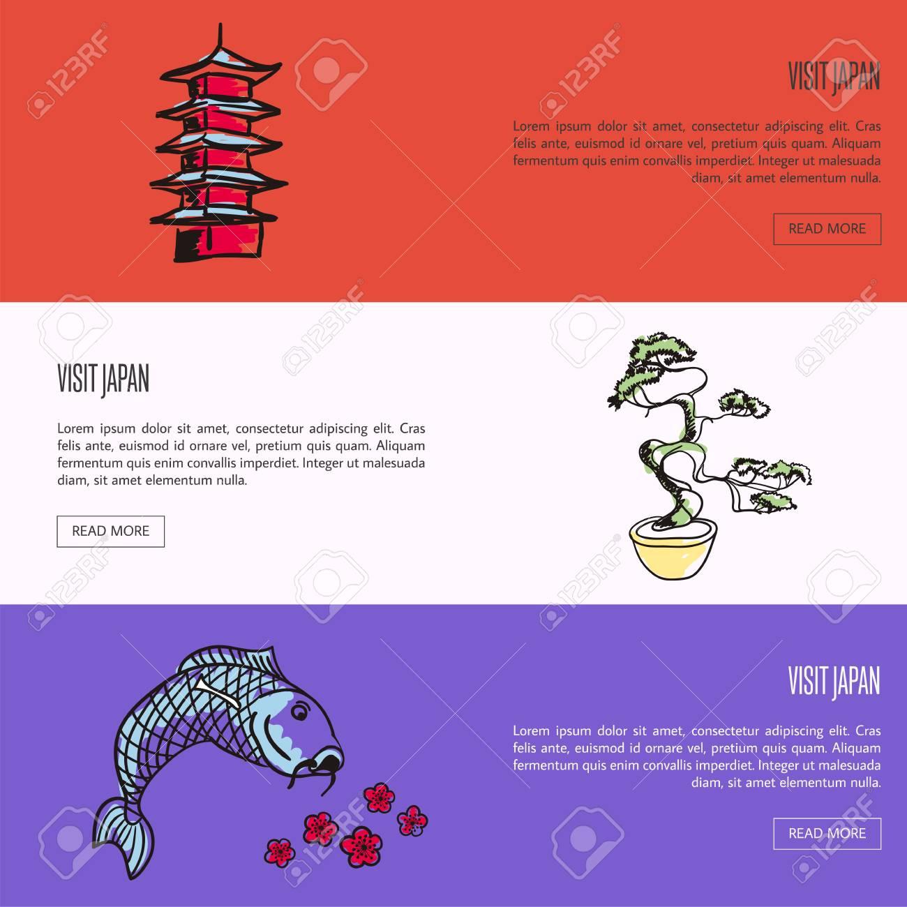 Visit Japan Horizontal Web Banners. Koi Fish, Cherry Flowers ...