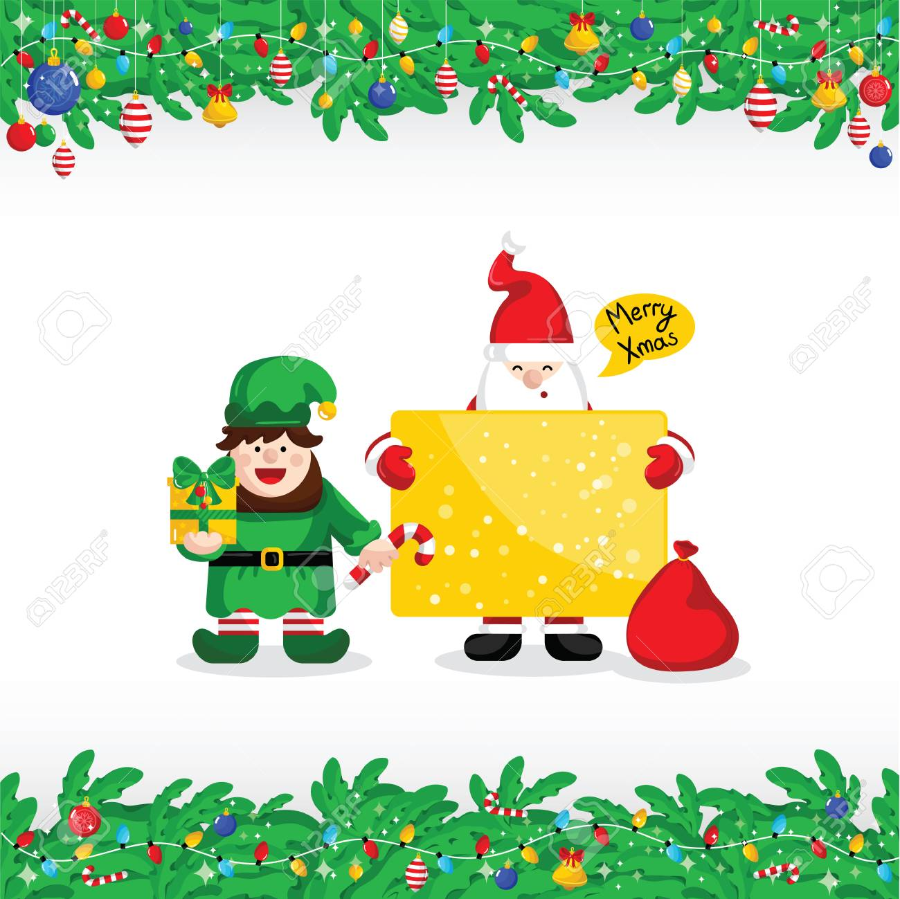 Merry christmas greeting card with santa claus and christmas merry christmas greeting card with santa claus and christmas elf vector illustration santa with giftbox m4hsunfo