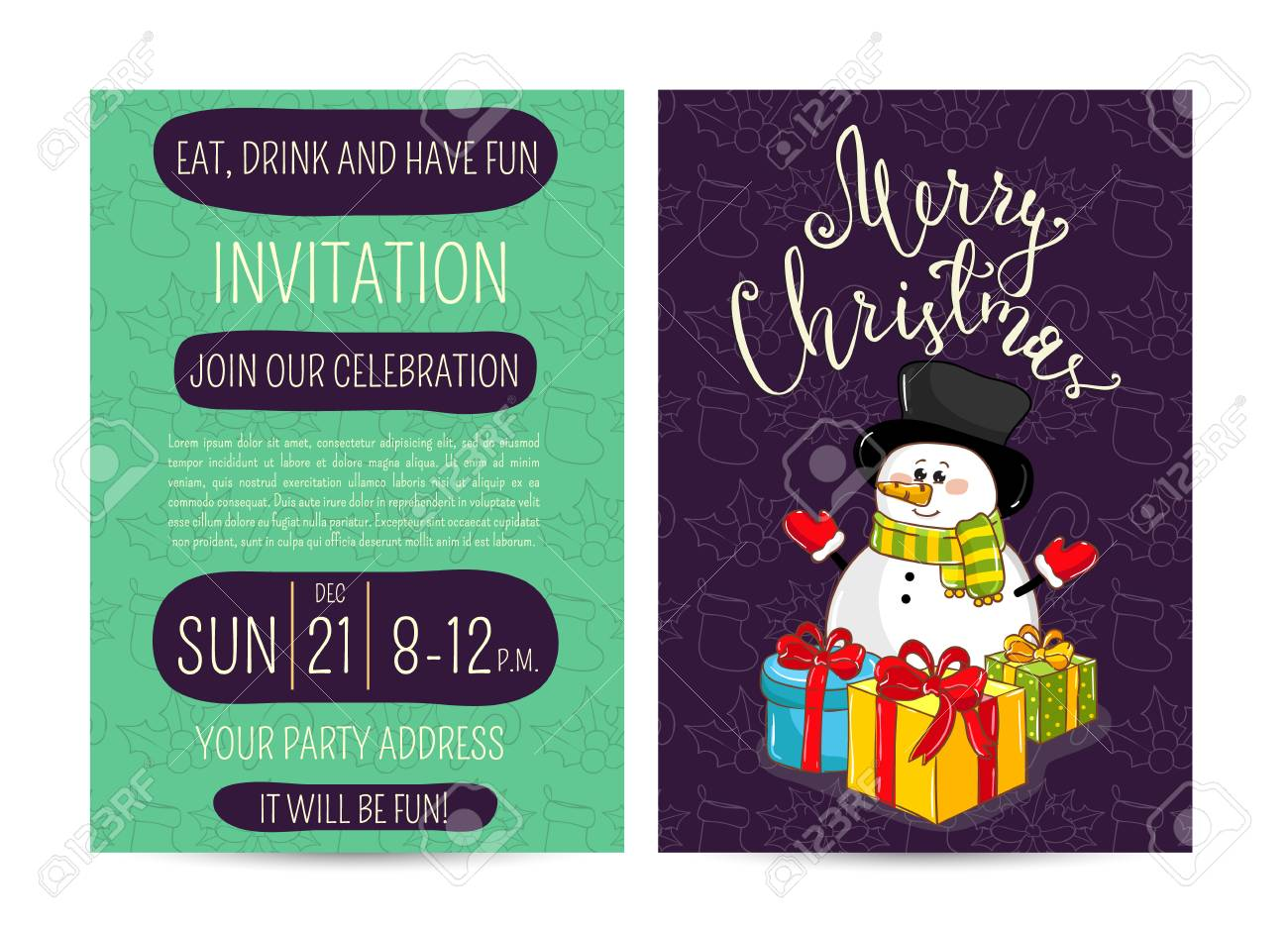 Invitation On Christmas Party With Date And Time. Cute Snowman ...