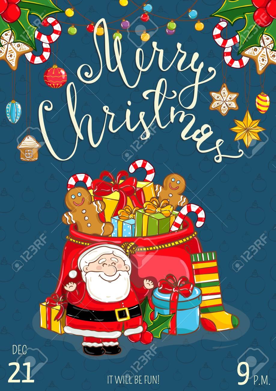 Weihnachtsfeier Promoplakat Mit Datum Und Uhrzeit. Fröhlich Santa ...