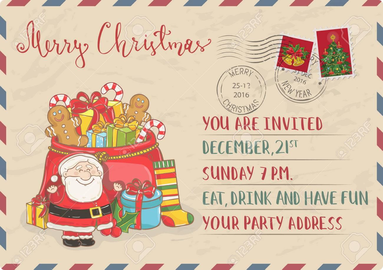 Vintage Christmas Postcard With Postal Stamps. Santa, Sack Of ...