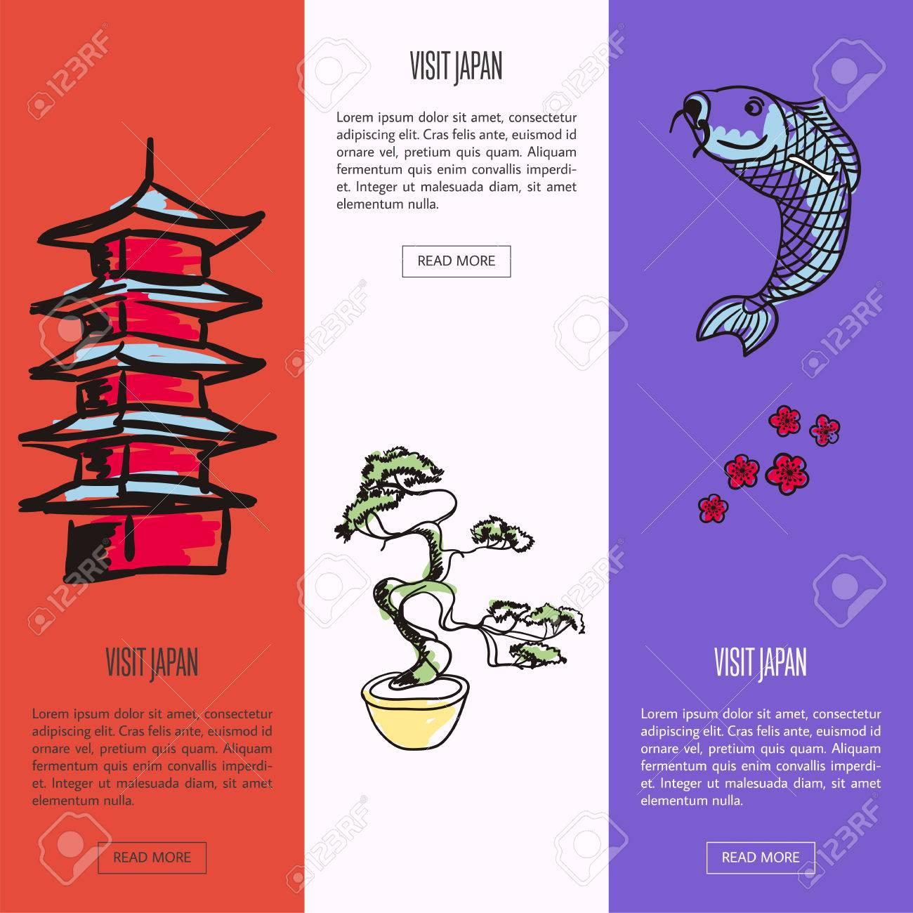 Visit Japan Vertical Web Banners. Koi Fish, Sakura Cherry Flowers ...